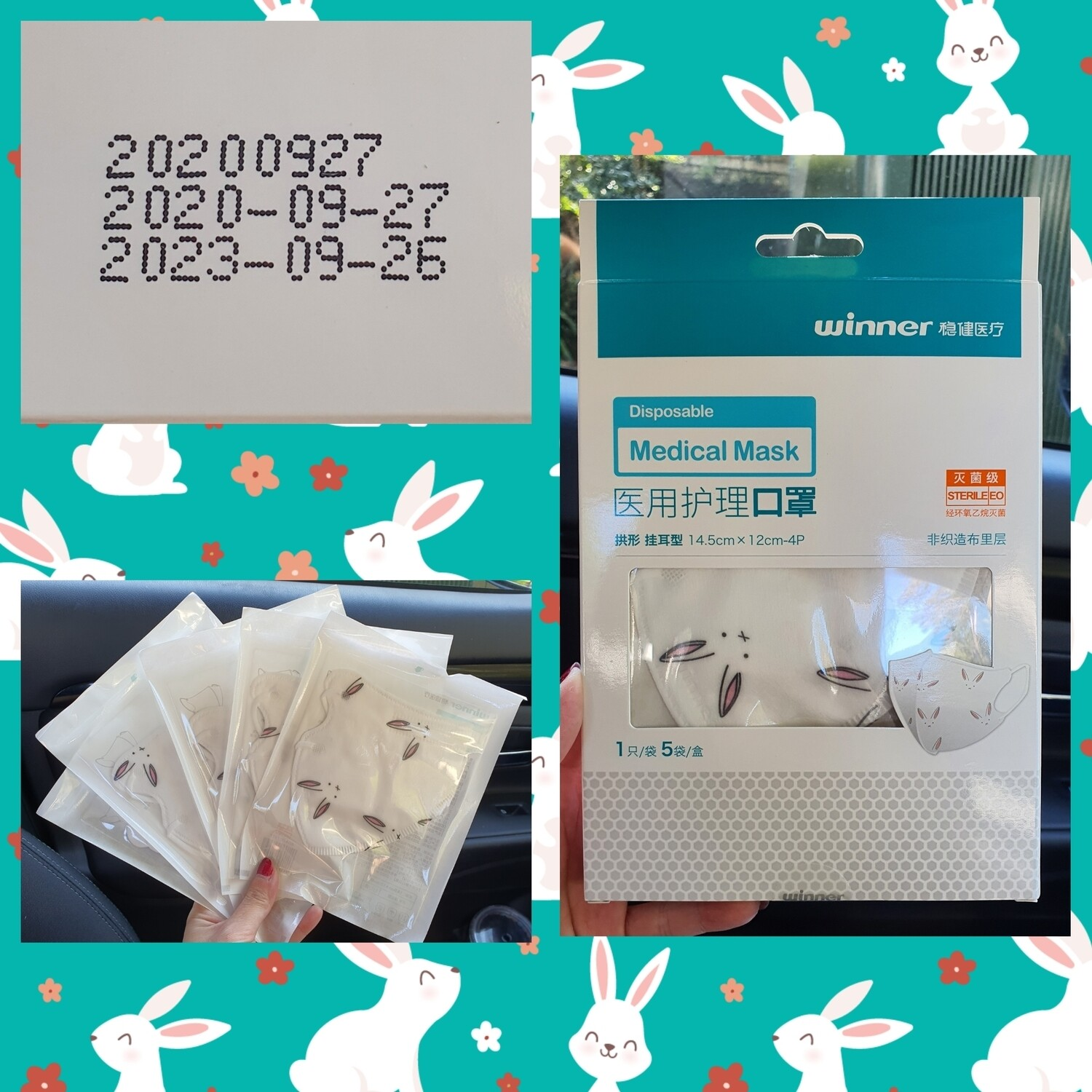 3D Bunny Design Disposable Mask (Adult size) indivially packed Box of 5