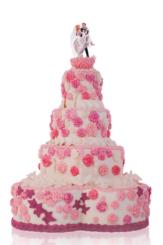 Wine Roses - Wedding Cake