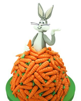 Kaninchen und Karroten Figur Torte