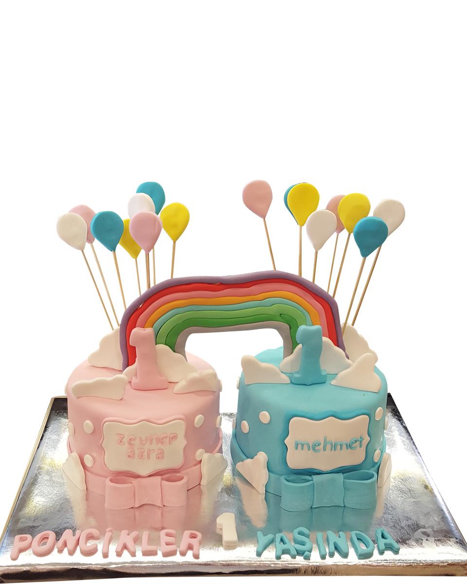 Regenbogen und Ballon Figur Torte