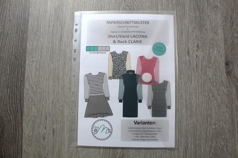 Papierschnittmuster Shirt / Kleid LACONA Gr. XS-XXXL+ Rock CLARIE