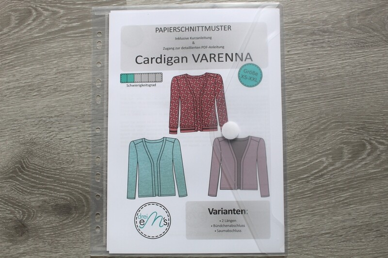 Papierschnittmuster Cardigan VARENNA Gr. 34-54