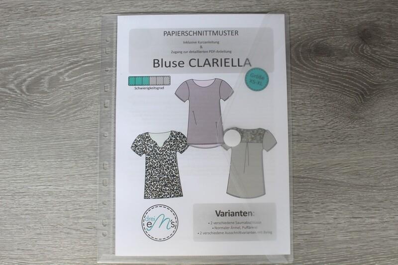 Papierschnittmuster Bluse CLARIELLA Gr. XS-XL