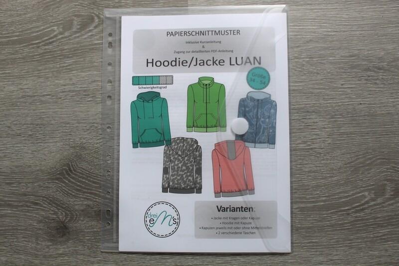 Papierschnittmuster Sweatjacke Hoodie LUAN Gr. 34-54