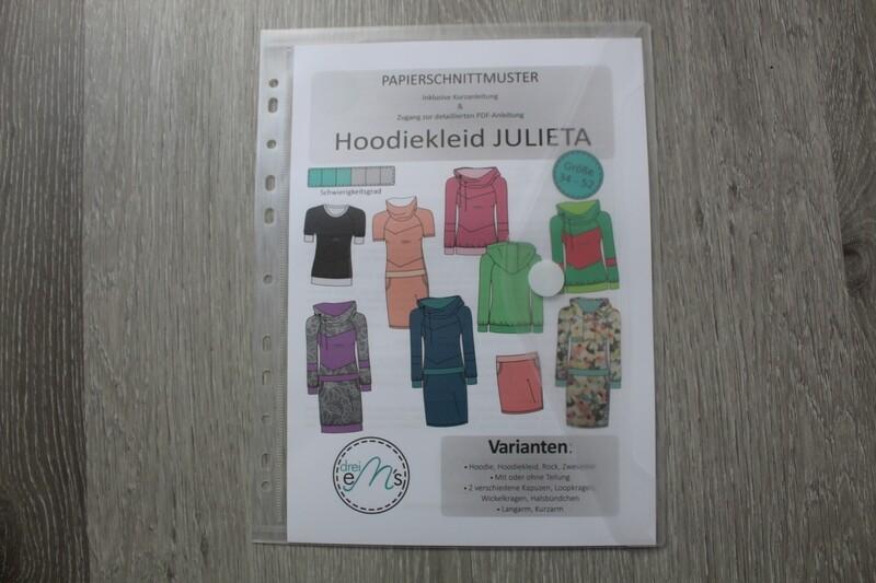 Papierschnittmuster Hoodie/Hoodiekleid JULIETA 34-52 inkl. Kragen Add-on
