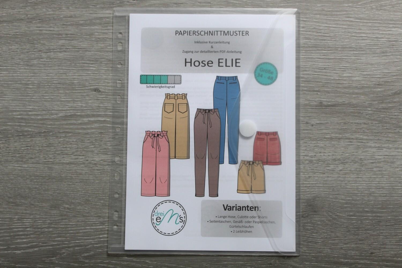 Papierschnittmuster lange Hose, Culotte, Shorts ELIE 34-48