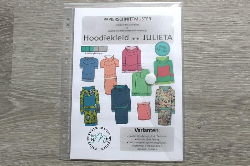 Papierschnittmuster Hoodie/Hoodiekleid mini JULIETA 86/92-158/164