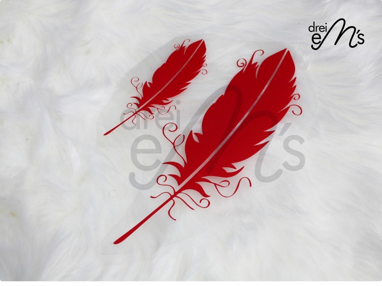 Bügelbild  2 Federn rot