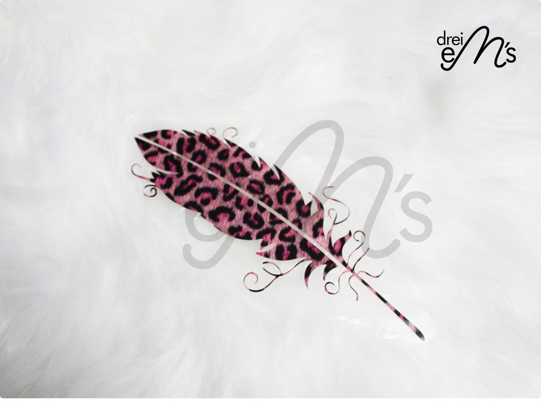 Bügelbild  1 Feder Leo  pink