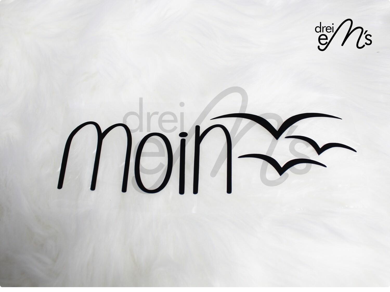 """Bügelbild  """"moin"""" schwarz"""