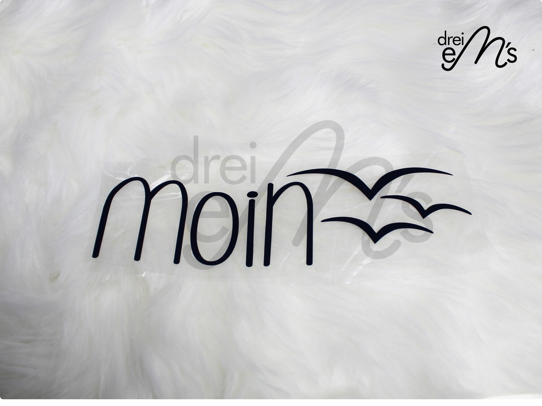 """Bügelbild  """"moin"""" dunkelblau"""