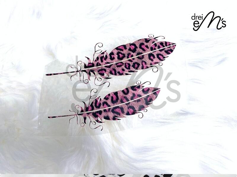 Bügelbild  2 Federn Leo pink