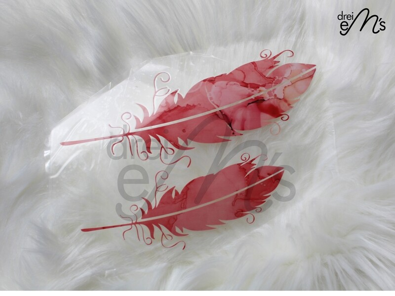 Bügelbild  2 Federn Ink rot