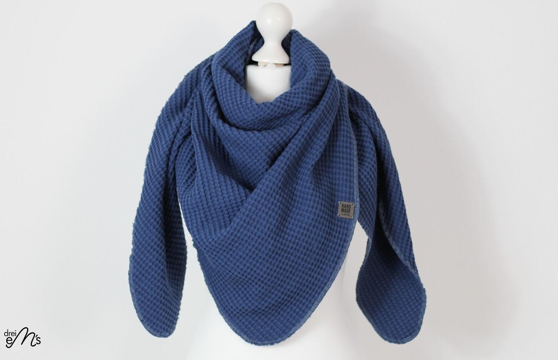 Waffelpique Dreiecks-Tuch jeansblau