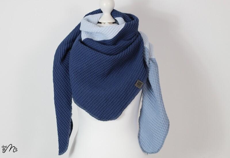 Waffelpique Dreiecks-Tuch Blautöne