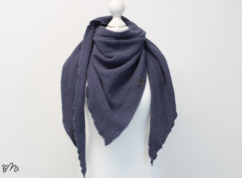 Musselin Dreiecks-Tuch jeansblau