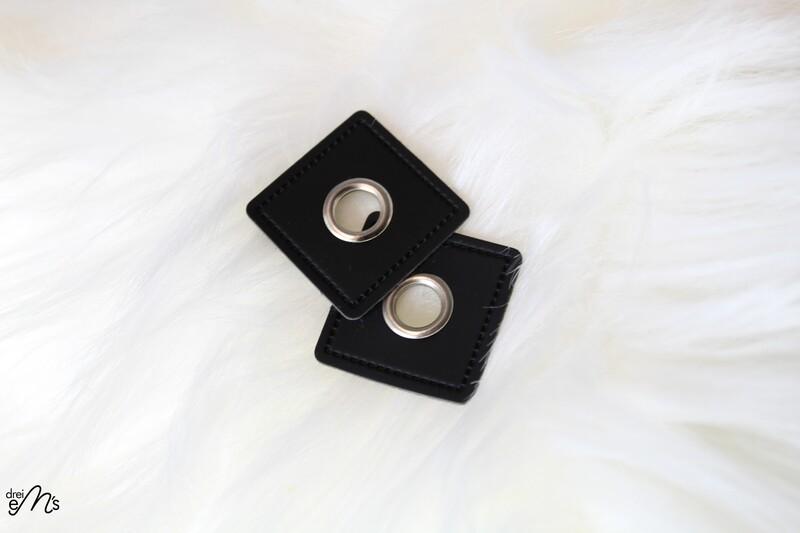 2 Stk Ösen Nickel auf Kunstleder schwarz 8 mm