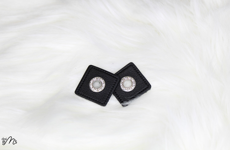 2 Stk Ösen Nickel auf Kunstleder schwarz - STRASS- 8 mm