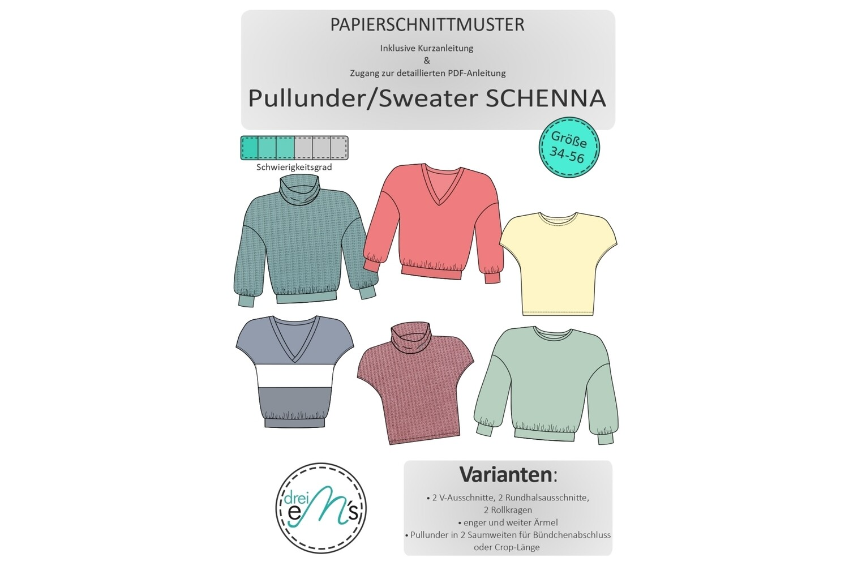 Papierschnittmuster Sweater/ Pullunder SCHENNA Gr. 34-56