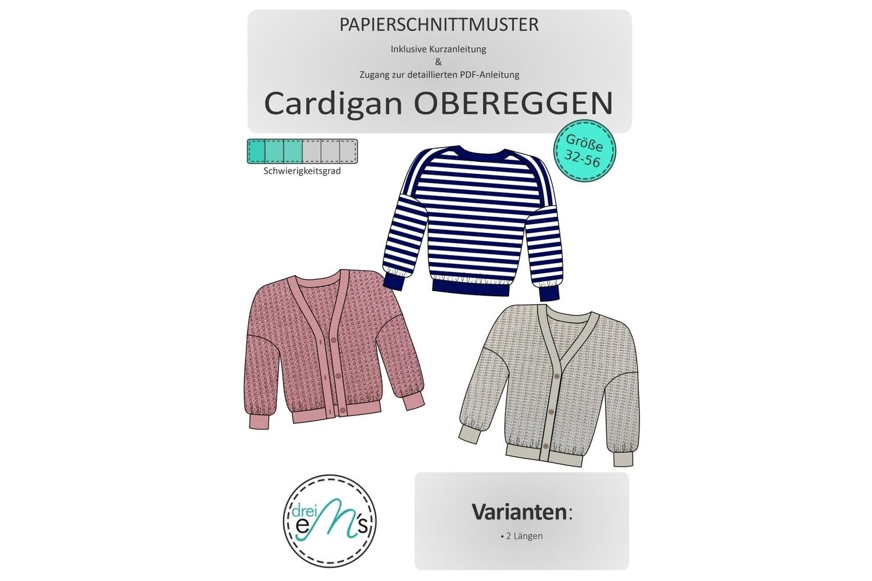 Papierschnittmuster Oversize Cardigan OBEREGGEN Gr. 32-56