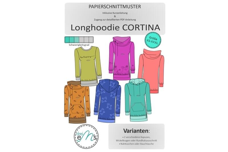 Papierschnittmuster Longhoodie CORTINA Gr. XS-XXXL