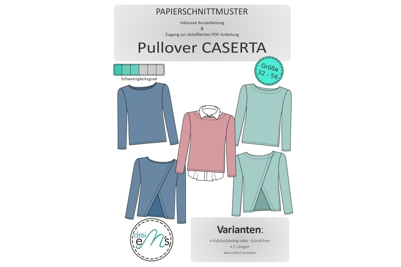 Papierschnittmuster Pullover CASERTA Gr. 32-56