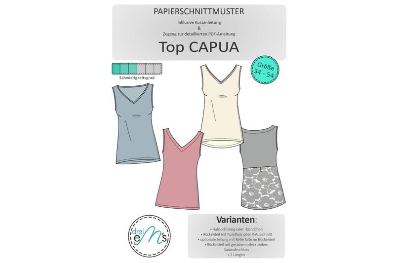 Papierschnittmuster Top CAPUA Gr. 34-54