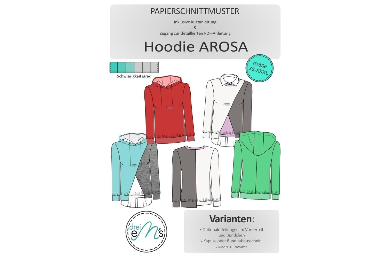 Papierschnittmuster Hoodie AROSA Gr. XS-XXXL