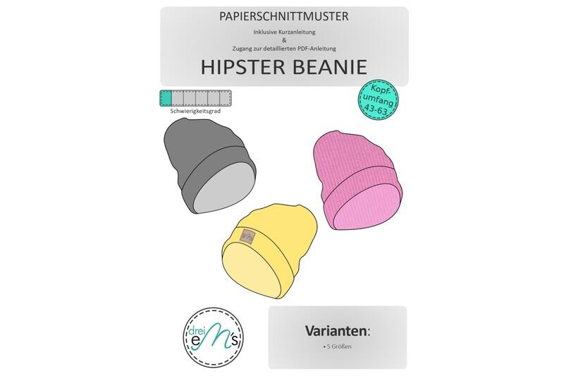 Papierschnittmuster Hipster Beanie 5 Größen