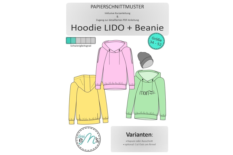 Papierschnittmuster Hoodie LIDO Gr. 34-52 inkl. Hipster Beanie