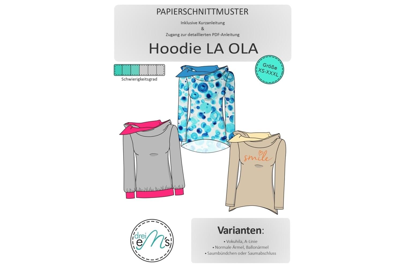 Papierschnittmuster Hoodie LA OLA XS-XXXL