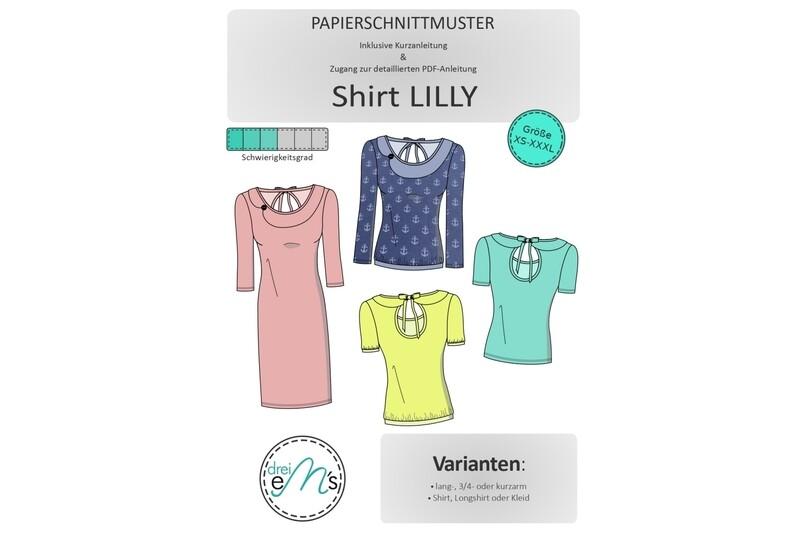 Papierschnittmuster Shirt Kleid  LILLY Gr. XS-XXXL