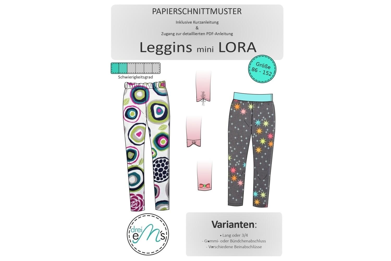 Papierschnittmuster  Leggins mini LORA 86/92-146/152