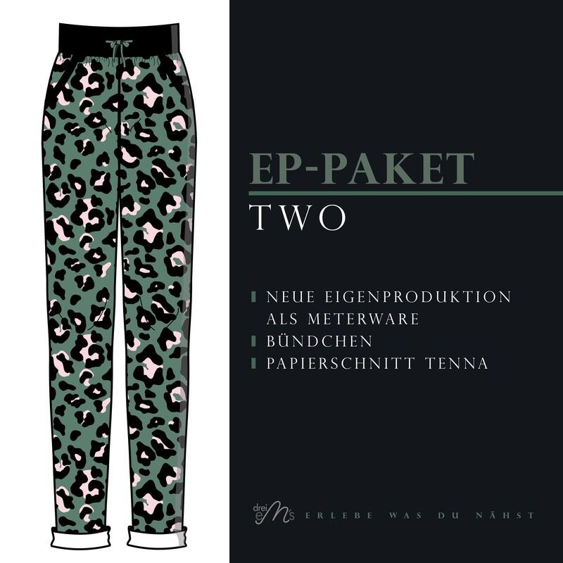 Paket TWO Leo French Terry grün, Bündchen schwarz, Papierschnittmuster TENNA