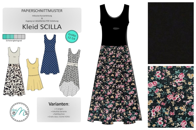 DIY- KIT SCILLA uni Viskose Jersey Schwarz, Viskose Blumen schwarz/bunt + Zubehör + Papierschnitt SCILLA