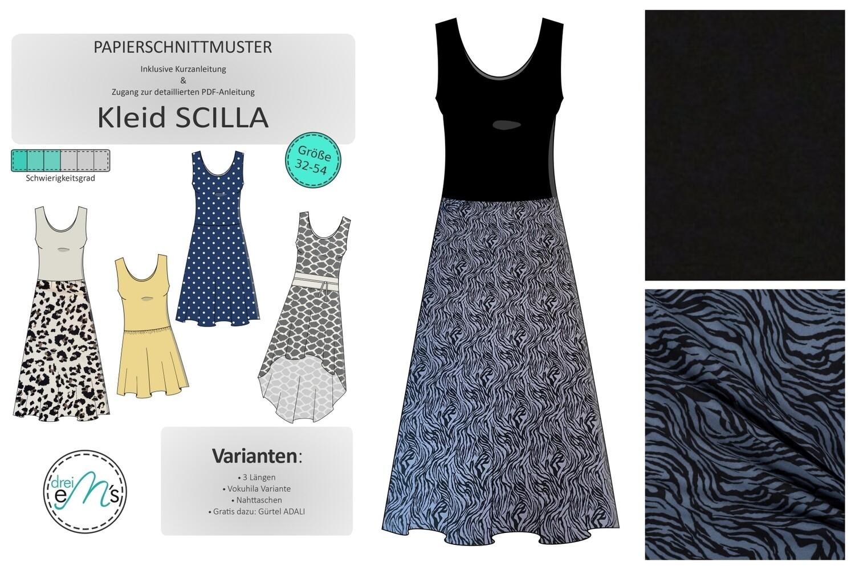 DIY- KIT SCILLA uni Viskose Jersey Schwarz, Viskose Zebra schwarz/blaugrau + Zubehör + Papierschnitt SCILLA