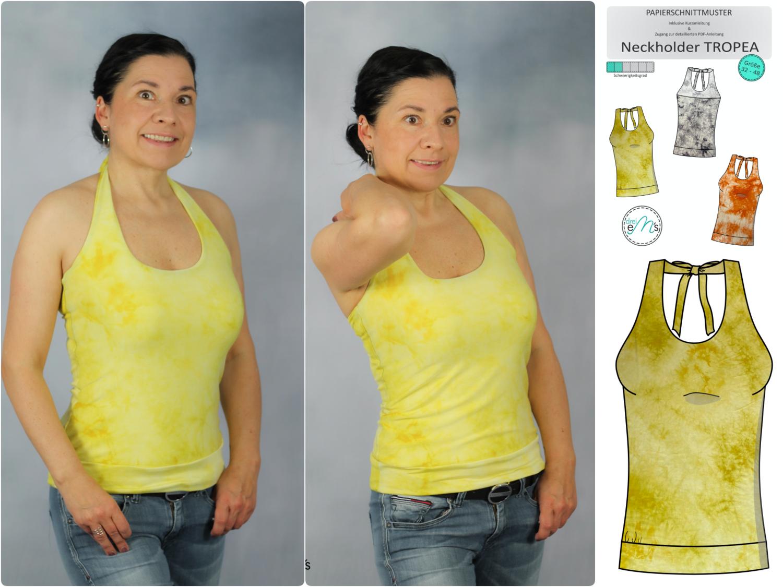Stoffpaket Neckholder TROPEA Viskosejersey Batik gelb + Papierschnitt