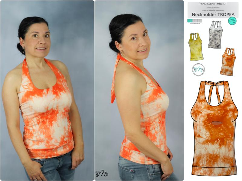 Stoffpaket Neckholder TROPEA Viskosejersey Batik orange + Papierschnitt