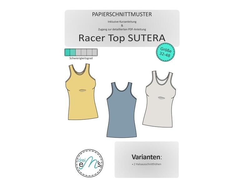 Papierschnittmuster Racer Top SUTERA Gr. 32-48