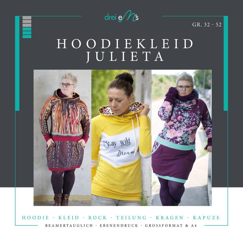 Ebook Hoodie/Hoodiekleid JULIETA 34-52 + Kragen Add on, Beamerdatei, Großformat und A4 in Ebenen