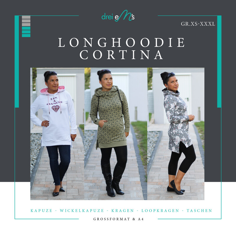 Ebook Longhoodie CORTINA Gr. XS-XXXL