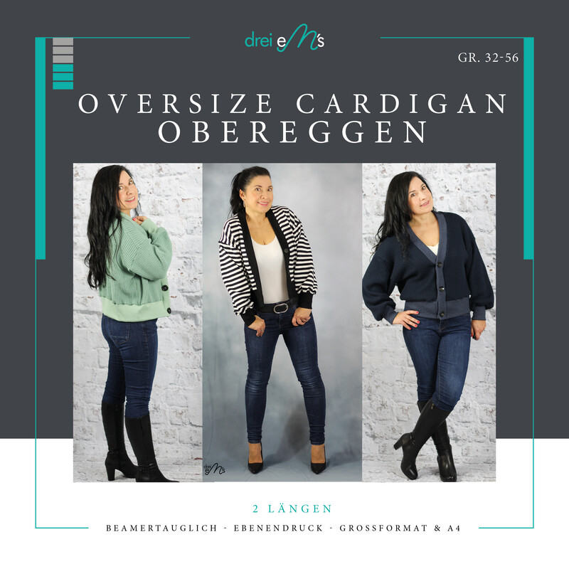 Ebook Oversize Cardigan OBEREGGEN Gr. 32-56