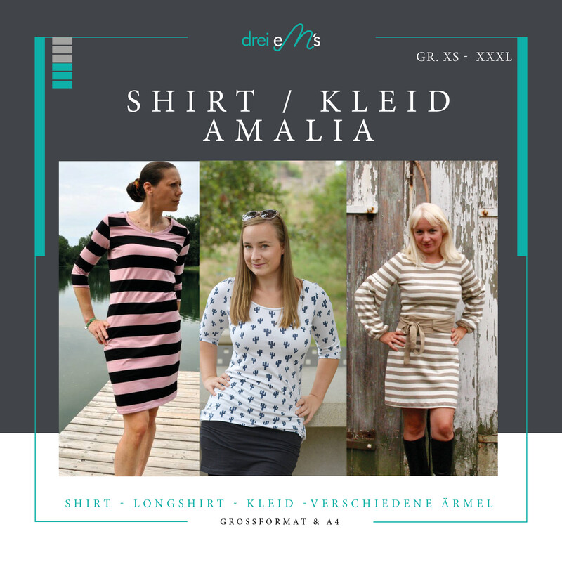 Ebook Shirt Kleid  AMALIA Gr. XS-XXXL