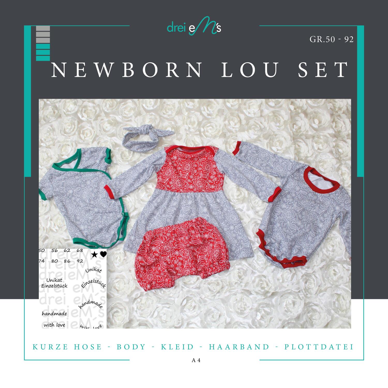 Newborn LOU SET Bodys,Kleid,kurze Hose, Haarband  Gr. 50-92 + gratis Plott-Datei