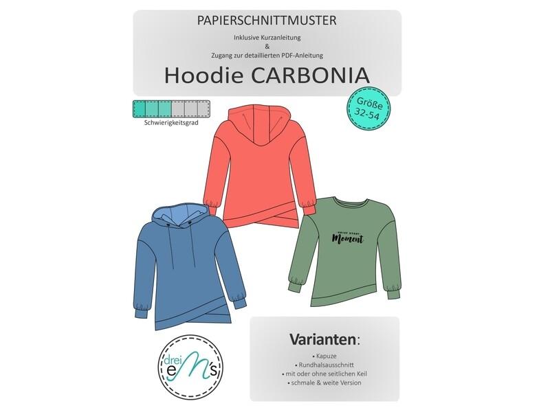 Papierschnittmuster Hoodie CARBONIA Gr. 32-54