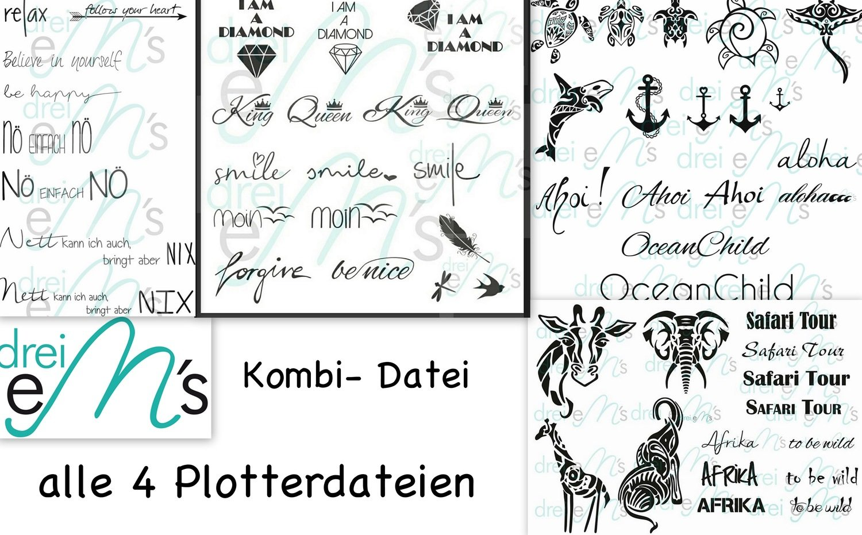"""Plotter- Datei SET """" Meerestiere"""" &""""Dschungel"""" """"Sprücheklopfer 1 & Sprücheklopfer 2"""""""