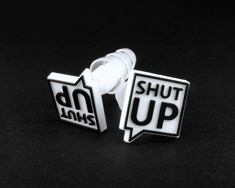 Earplugs with SHUT UP logo