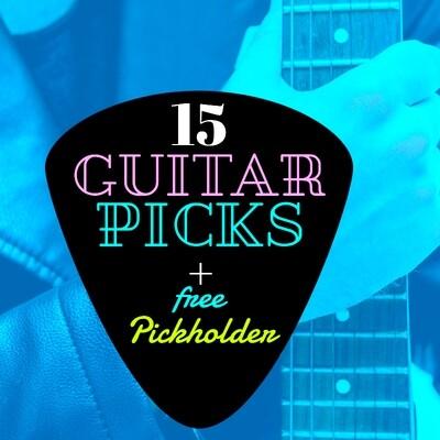 15 Guitar Picks + Free Headstock Pickholder