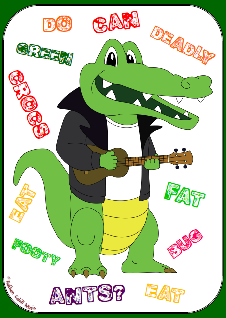 Green Croc hi-res Words Poster