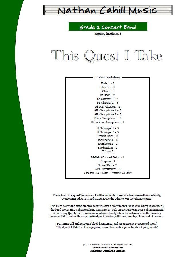 This Quest I Take - Level 2 Concert Band
